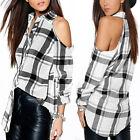 Women Plaid Check Lapel Tartan Long Sleeve Top Shirt Blouse T-Shirt