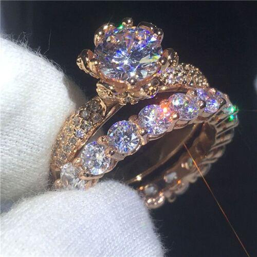 2.20Ct Round Cut Diamond Bridal Set Engagement Ring Solid 14K Rose Gold Finish