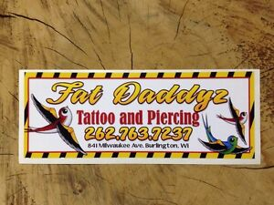 Bumper sticker advertising tattoo and body piercing parlor for Tattoo shops in wisconsin