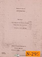 National Broach Gcu 1836 Red Ring Shaving Machine Operation Service Manual 1958