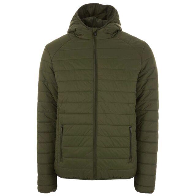 Henleys Men's Destruct Hooded Padded Coat Jacket Khaki