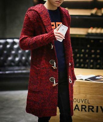 Winter Spring Men's Slim Fit Hooded Long Trench Coats Leisure Jackets Outwear #