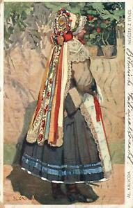1911-CZECH-BRIDE-amp-FOLK-COSTUME-POSTCARD-NEVESTA-POSTCARD-from-Prague-to-Perth