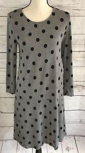 Kensie-Womens-Medium-Dress-Drop-Waist-Gray-Black-Polka-Dot-Stretch-3-4-Sleeve