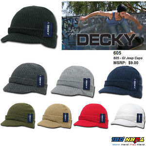 NWT Decky Beanie Beanies GI Jeep Cap Caps Hat Visor Ski Thick Warmer ... bb7ba9239fa