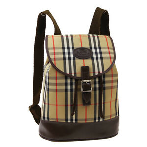 Burberry's House Check Backpack Bag CW00526 Beige Canvas Leather 32198