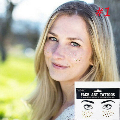 Gold Face Temporary Tattoo Waterproof Blocked Freckles Makeup Stickers Eye Decal