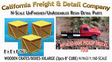 WOODEN CRATES/BOXES-XXLARGE (3pcs) N/1:160-Scale Craftsman CAL FREIGHT