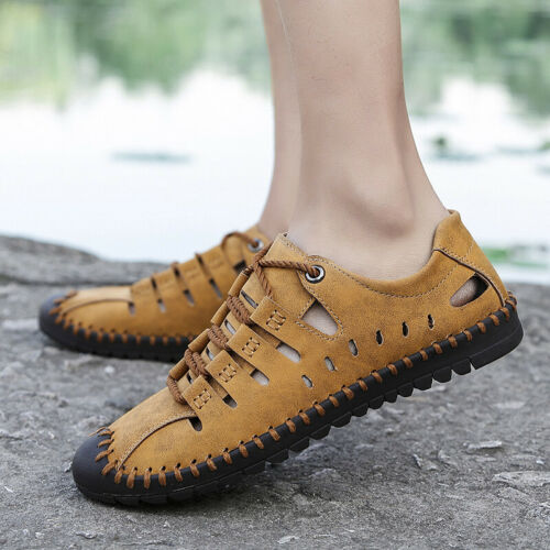 Mens Leather Closed Toe Flat Sandals Beach Trail Hiking Quick-dry Water Shoes
