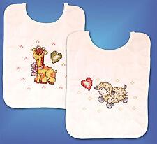 Cross Stitch Kit ~ Tobin Jesus Loves Me Baby Bib Set (2) # T21729 OOP SALE!
