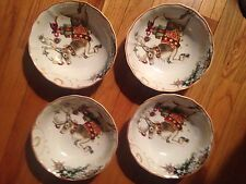 """Williams Sonoma 'Twas the Night Before Christmas Set/4 Reindeer 8"""" Bowls Nwts"""