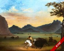 AMERICAN FRONTIERSMAN TRAPPER HUNTING BUFFALO PAINTING ART REAL CANVAS PRINT