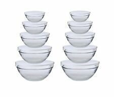 SET/2 - 5 Pc Nesting Glass Bowl Set w/ White Snap on Lids - Mix Store Serve