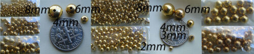 Sizes 2mm to 8mm Round and disc smooth beads 24kt gold bonded over copper