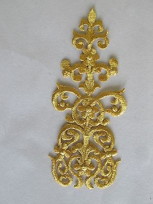 """#2883 6"""" Gold Trim Fringe Flower,Boho Art Embroidery Iron On Applique Patch"""