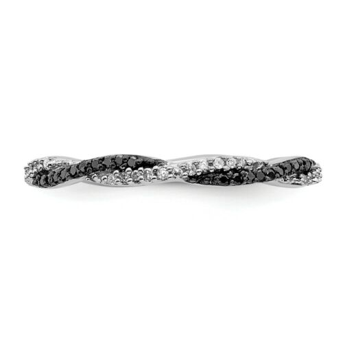 925 Sterling Silver Black//white Diamond Band Ring Stackable Fancy Black White