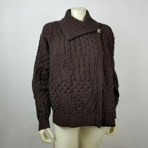 Inis Crafts Womens Sweater Cable Knit Brown Size L