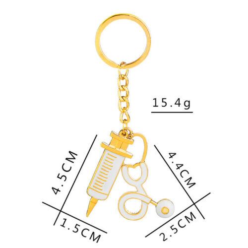 Nurse Medical Box Medical Key Chain Needle Syringe Stethoscope Keychain Gift KE