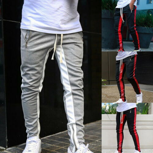 Mens Casual Trousers Outdoor Gym Fitness Sports Jogger Zipper Pants Large Size