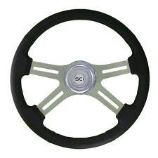 "18"" Black Leather 4 Spoke Classic Steering Wheel for Freightliner, Peterbilt,KW"
