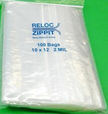 "ZIPLOCK BAGS LARGE 10"" x 12"" CLEAR 2 MIL ZIP RECLOSABLE 100 BAGS ZIPPIT RELOC"