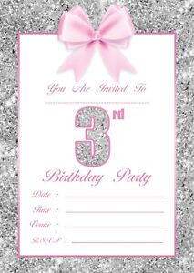 Image Is Loading GIRLS 3RD BIRTHDAY PARTY INVITATIONS KIDS CHILDRENS INVITES