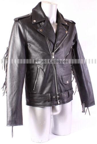 Men/'s Fringe Leather Jacket Black BRANDO Cow Boy Biker Cruiser Leather Jacket