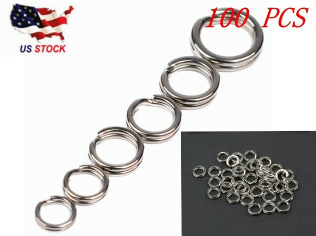 50//100 X Strong Stainless Steel Split Rings Connectors fishing Lures Baits ptE3R