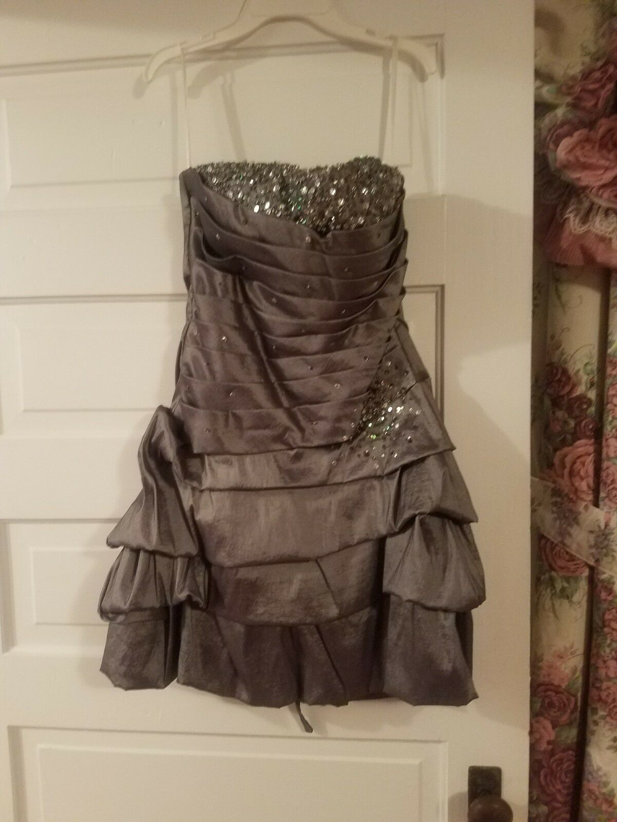 Grey strapless homecoming dress size large