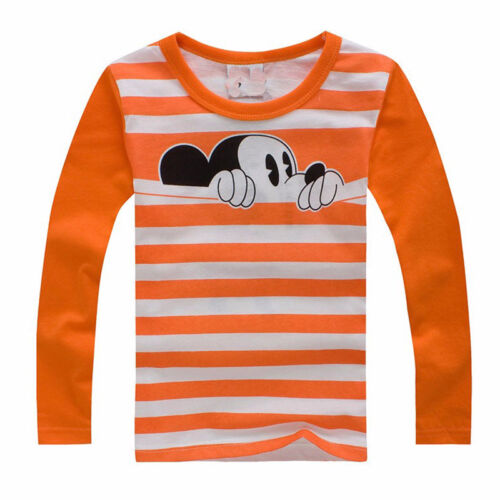 Boys Shirts Mickey Mouse Toddler Long Sleeve White Striped Casual Outfit Sets
