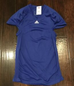 Activewear Tops Popular Brand Adidas Blue Men's Techfit Compression Football Jersey #7689a 2xl Pure White And Translucent