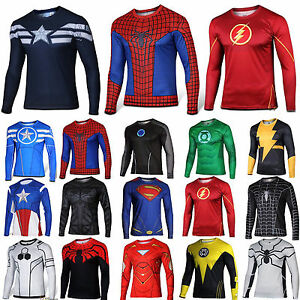 Mens-Marvel-Compression-Armour-Base-Layer-Gym-Top-Superhero-Long-Sleeve-T-shirt
