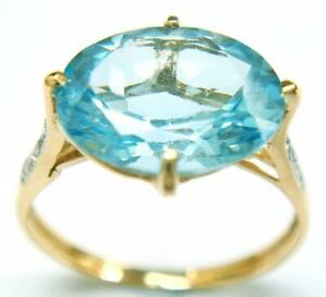 SYJEWELLERY-9CT-YELLOW-GOLD-NATURAL-OVAL-BLUE-TOPAZ-amp-DIAMOND-RING-SIZE-N-R1043