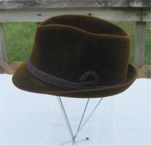 41dca542212de Vintage Brown Churchill Ltd. Fur Felt Fedora Hat Velour Finish Size ...