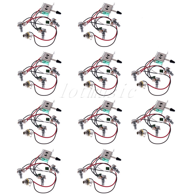 10 pcs wiring harness pickup switch pots jack for fender. Black Bedroom Furniture Sets. Home Design Ideas