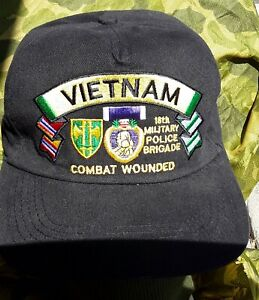 731437ed5 Details about 18th military police Brigade Vietnam veterans Purple Heart  Medal ball caps