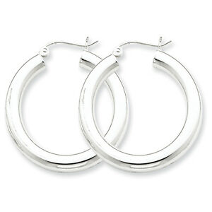 925-Sterling-Silver-Rhodium-Plated-4mm-x-30mm-Round-Polished-Hoop-Earrings