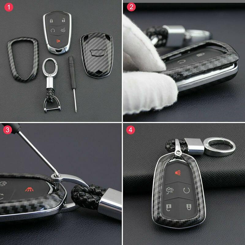 Carbon Fiber Car Key Fob Case Cover Chain For Cadillac ATS