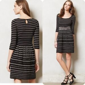 ae583787683 Image is loading Knitted-and-Knotted-Anthropologie-Black-White-Striped- Elodie-