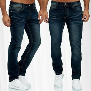 Hommes-Jeans-Pantalon-Doublure-Polaire-Stretch-Denim-Slim-Used-Washed-regular-waist