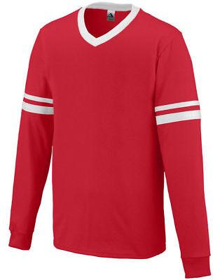 Augusta Sportswear Youth Sports V-Neck Long Sleeve Stripe Jersey T-Shirt 373