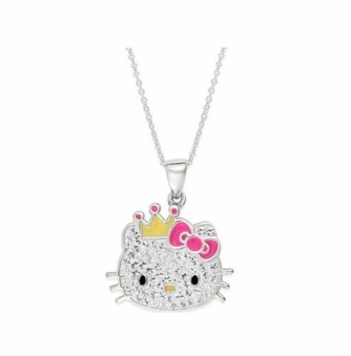 9f9e7e5c9 Hello Kitty Necklace Sterling Silver Crystal Princess Kitty Pendant for  sale online | eBay