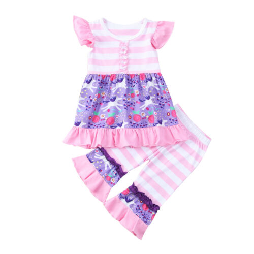 Unicorn Kids Baby Girl Outfits Clothes Ruffle Tops+Long Pants Playsuit 2PCS Set