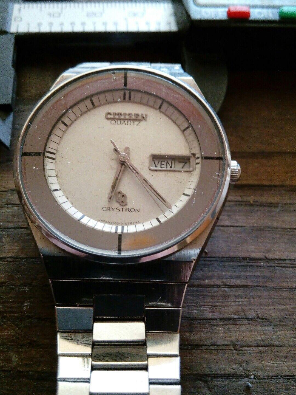 Citizen Quarzt Crystron curioso dial formato gran tamaño