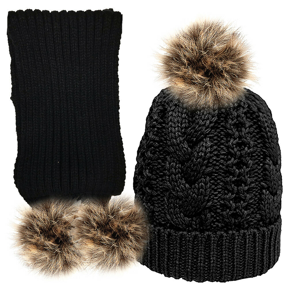 Women Girls Knitted Detachable Faux Fur Pompom Hat with cosy liner and Scarf Set