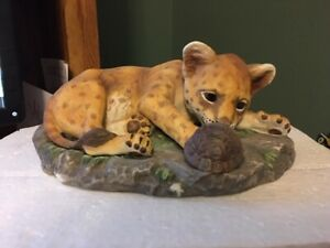 HOMCO-vtg-1985-Cheetah-Tiger-Cub-amp-Baby-Turtle-Masterpiece-Porcelain-Figurine