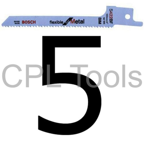 "5 Bosch S422BF Reciprocating Saw Blades 100mm 4/"" for CURVED cuts in SHEET METAL"