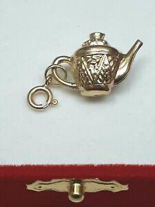 14k Yellow Gold Design Teapot Pendant  Charm