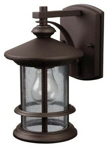 Wall Mounted Garden Oil Lamps : Oil Rubbed Bronze Outdoor Wall Mount Lantern Light! Exterior Sconce Seeded Glass eBay