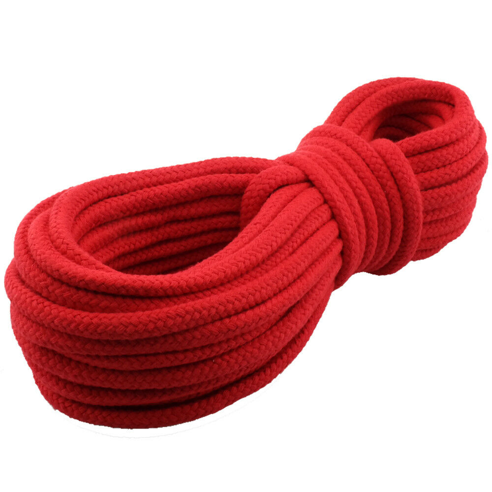 Cotton Rope Cord 9mm 30m Braided Red Soft Bondage Shibari Japanese String